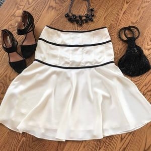 Theory size 6 Cream A Line Dress black trim